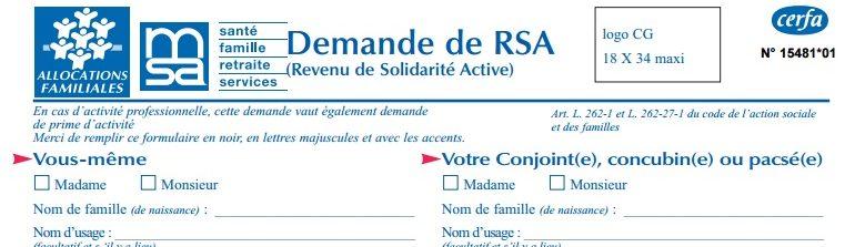 formulaire RSA